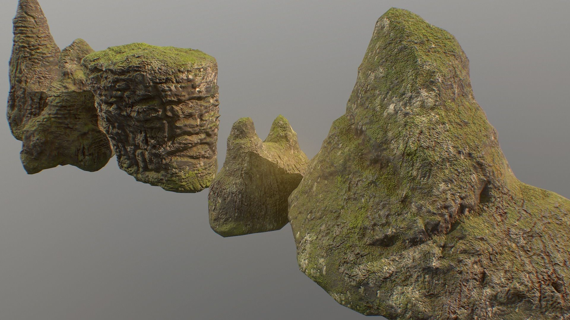 Low poly mossy rocks environment assets