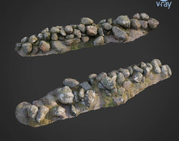 game-ready 3d scanned nature stone wall A
