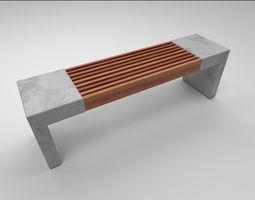 mall Park bench game ready 3D asset