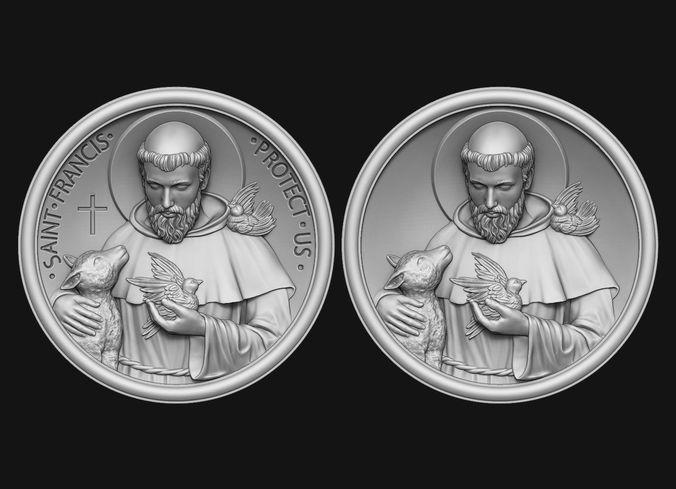 saint francis medallion 3d model obj mtl stl 1