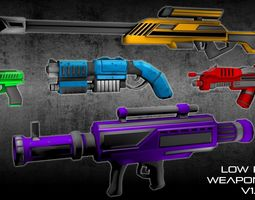Low Poly Scifi Weapons Pack 1 3D asset