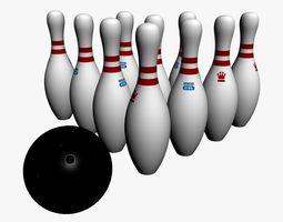 official bowling ball pins 3d model max obj 3ds fbx ma mb blend