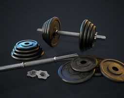 3D asset Adjustable Dumbbells