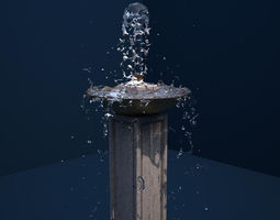 3D model Plinth Fountain 6 Realflow Scene