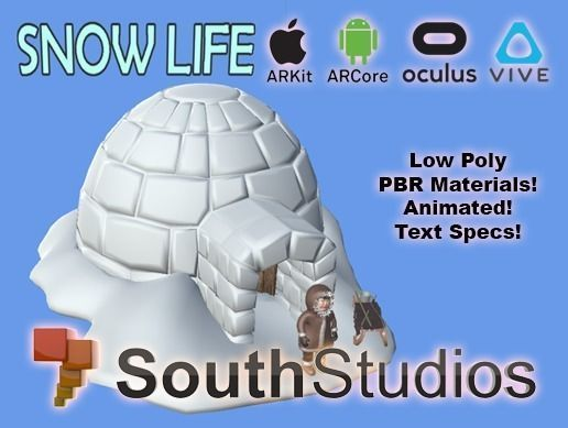 animated snow life ar vr unity 3dsmax 3d model low-poly rigged animated max unitypackage prefab 1