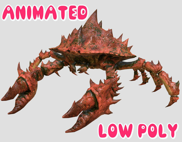 crab 3d model - animated 3d model low-poly rigged animated obj mtl fbx tga 1