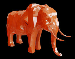 3D model Abstract Poly-style Elephant Figure