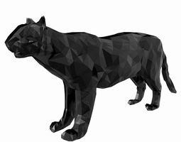 Abstract Poly-style Black Stone Tiger Figure 3D model