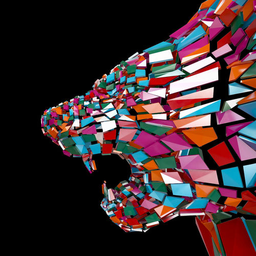 abstract beast lion colorful braked glass in peaces siluet 3d model max obj mtl fbx mat 1