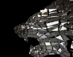 3D asset Abstract Beast Lion braked glass siluet