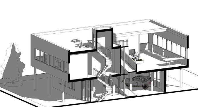 villa savoye Le corbusier for Revit 3D model | CGTrader