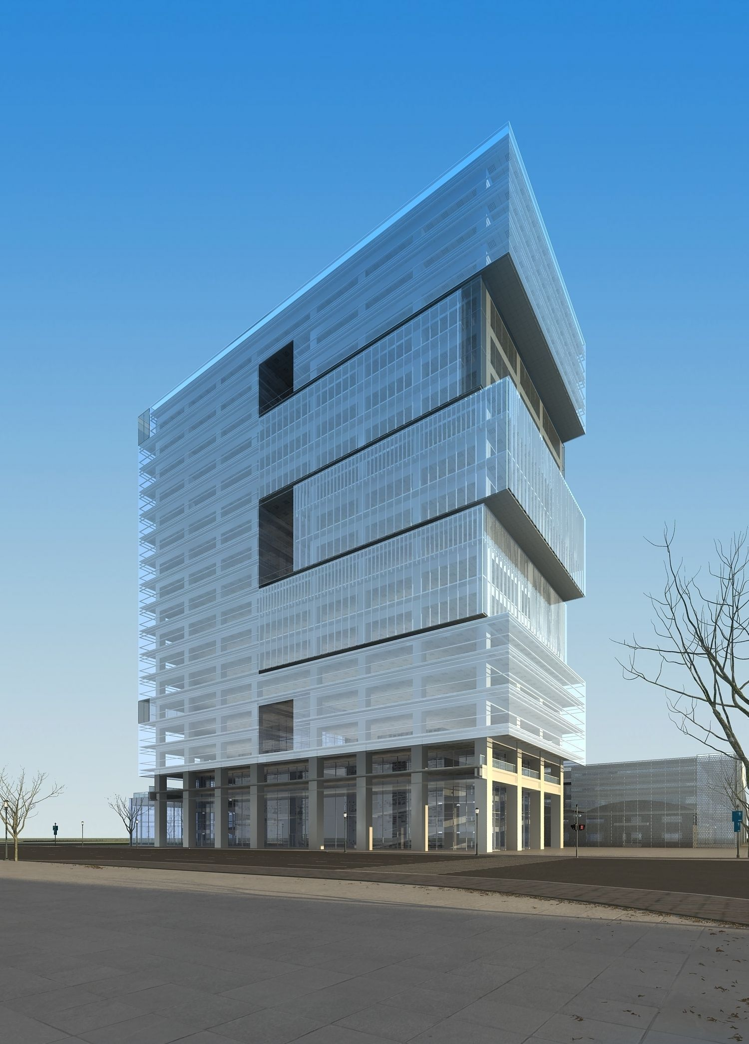 Modern commercial building design 3d model max for Modern office building exterior design