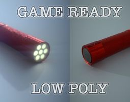Red Aluminum Led Torch Low Poly Game Ready 3D asset