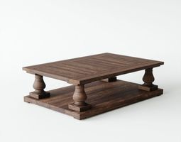 Balustrade Salvaged Wood Table 3D