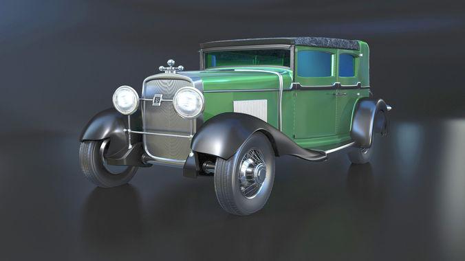 1928 cadillac v-8 al capones car 3d model obj mtl 1