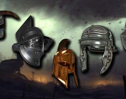 3D asset medieval helmet colection
