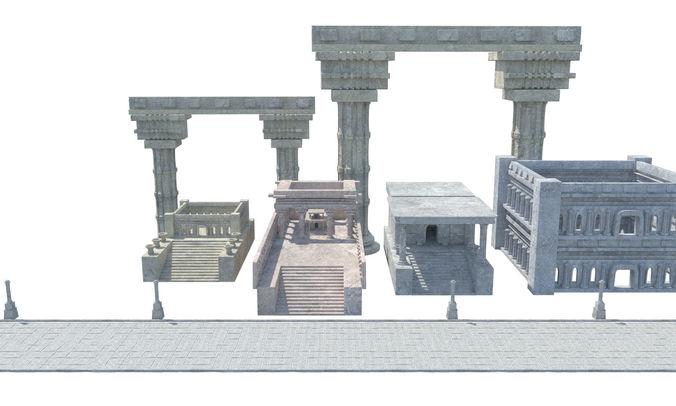 ancient greek roman temples buildings architecture 3d model obj mtl 1