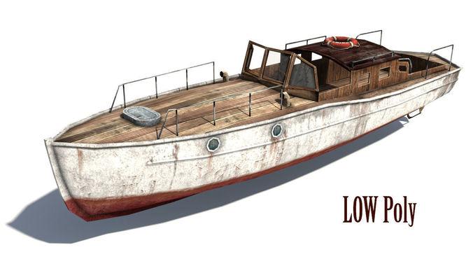 rusty boat 3d model low-poly max obj mtl 1