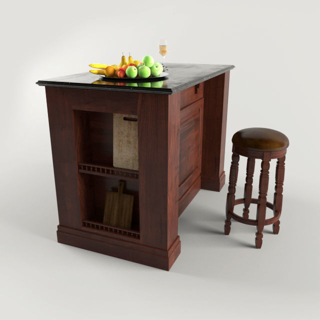 Kitchen Island and Stool Chair | 3D model