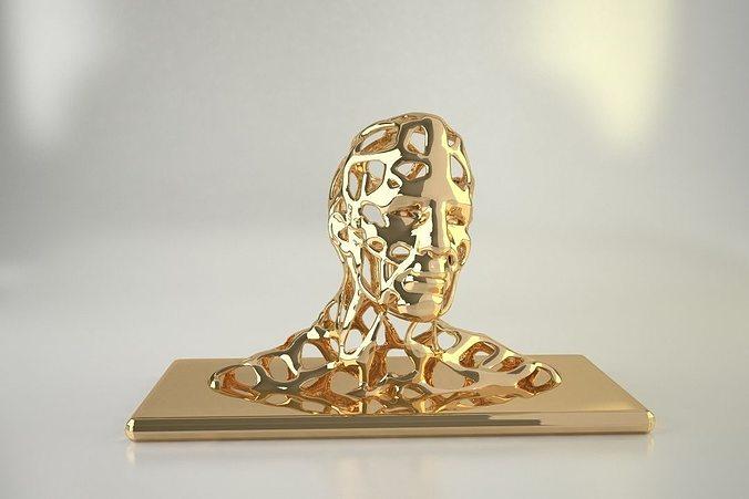 man head sculpted 3d model obj mtl stl 1