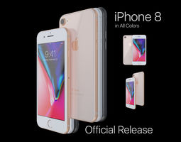 Apple iPhone 8 in All Color 3D model game-ready