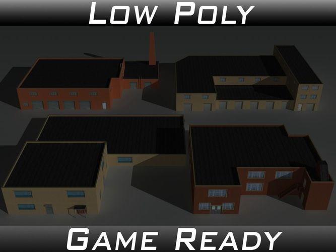 factory building set 9 3d model low-poly obj mtl 3ds fbx 1