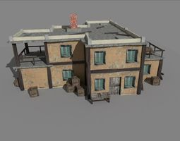 low poly old house 3D asset