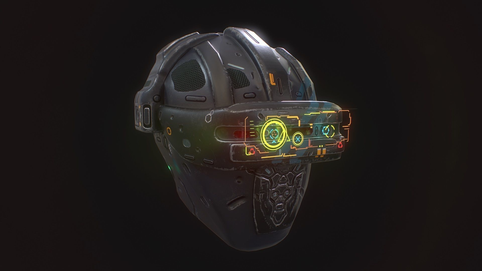 Low poly sci fi holo helmet character asset