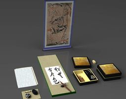 Shodo Traditional Japanese Calligraphy Set 3D
