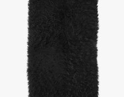 Mongolian fur rug black 3D model