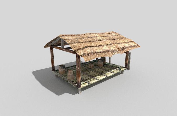 low poly beach hut 3d model low-poly obj mtl 3ds fbx blend dae 1