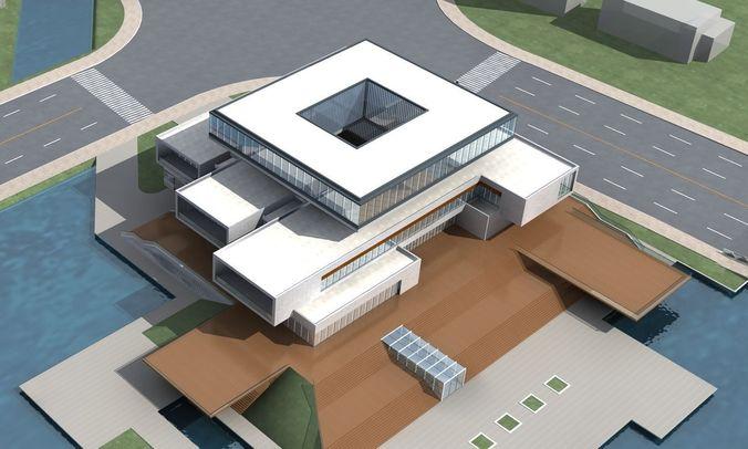 Artistic office building design 3d model max for Office design 3d max