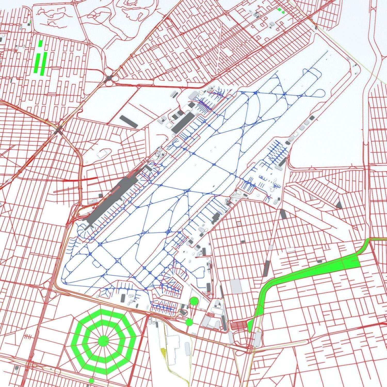 Mexico City Benito Juarez Mex Airport Roads Buildings 3d 1