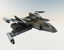3D model SPACE FIGHTER Game Ready With Cockpit