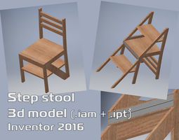 Wooden step stool 3D