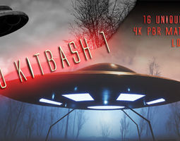 UFO - KIT-Bash 1 - 16 Low Poly PBR Ufo pack 3D model