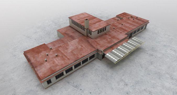 lkkv old terminal 3d model low-poly max obj mtl 3ds fbx 1