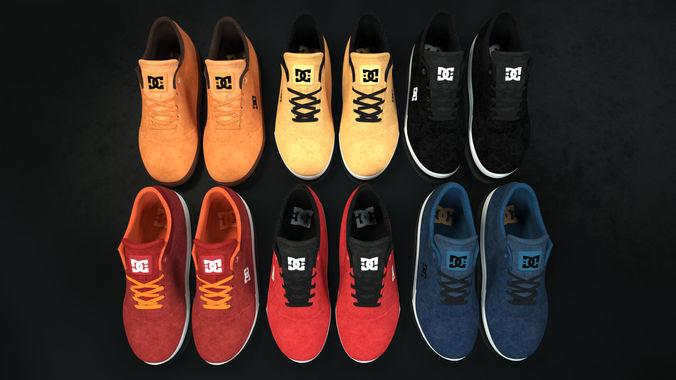 realisitc dc shoes crisis - collection of 6 colors 3d model low-poly obj mtl fbx 1