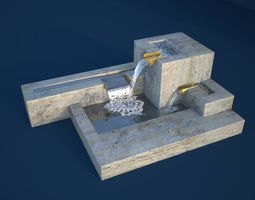 Modern Cubic Fountain 3D model PBR