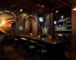 pub with oval door frame 3d model
