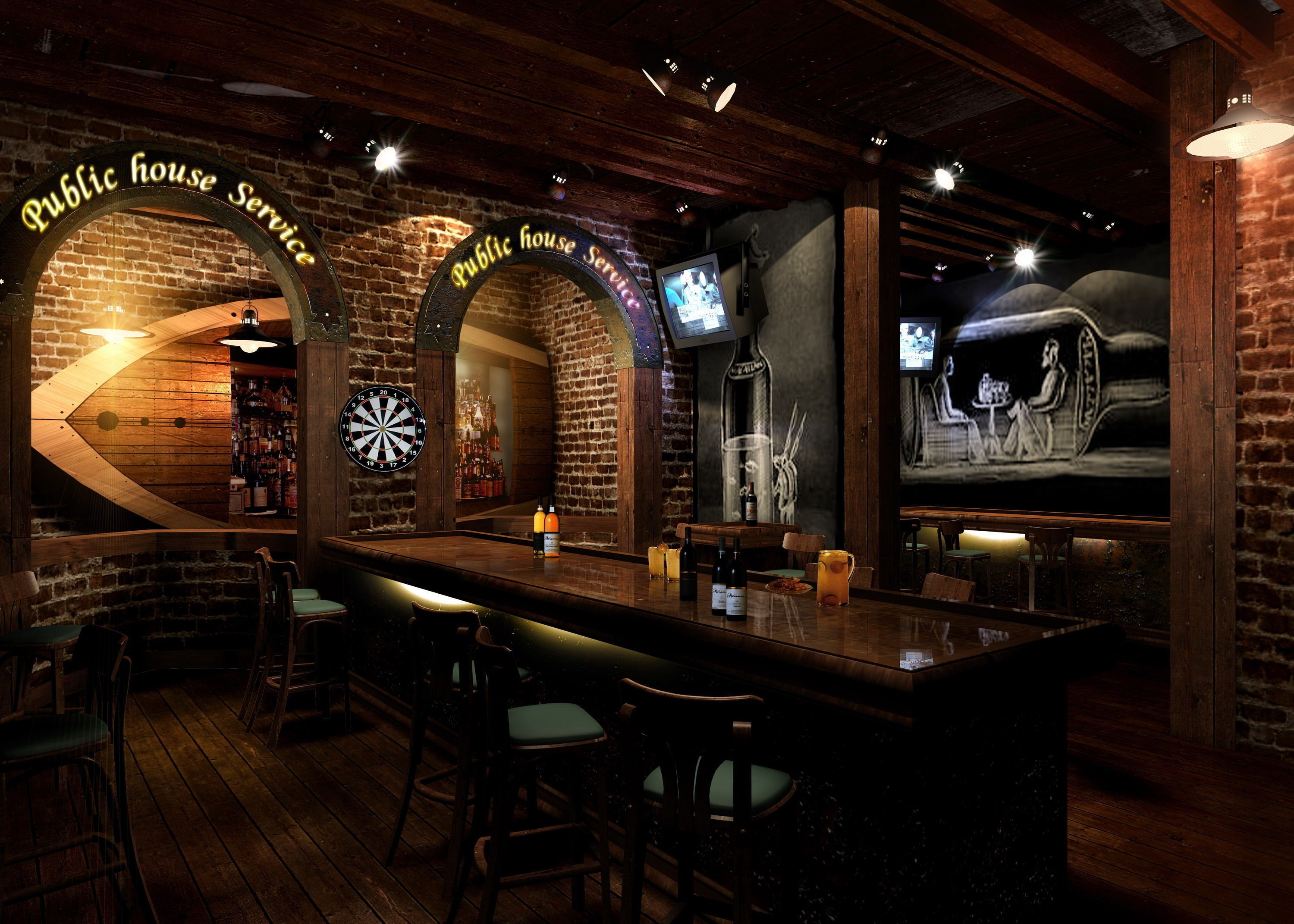 Pub with oval door frame d model max ds cgtrader