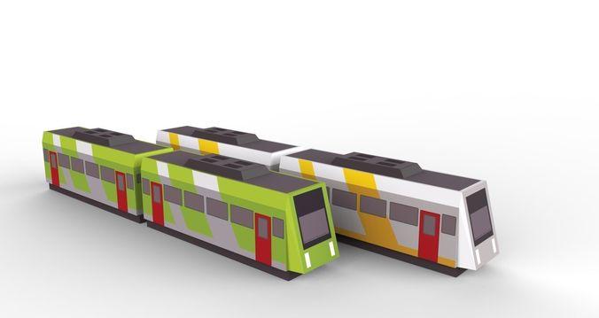 low poly train 3d model low-poly fbx tga 1