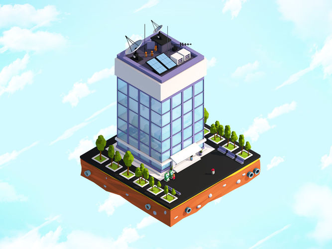 3d Model Realtime Cartoon Low Poly Office Building