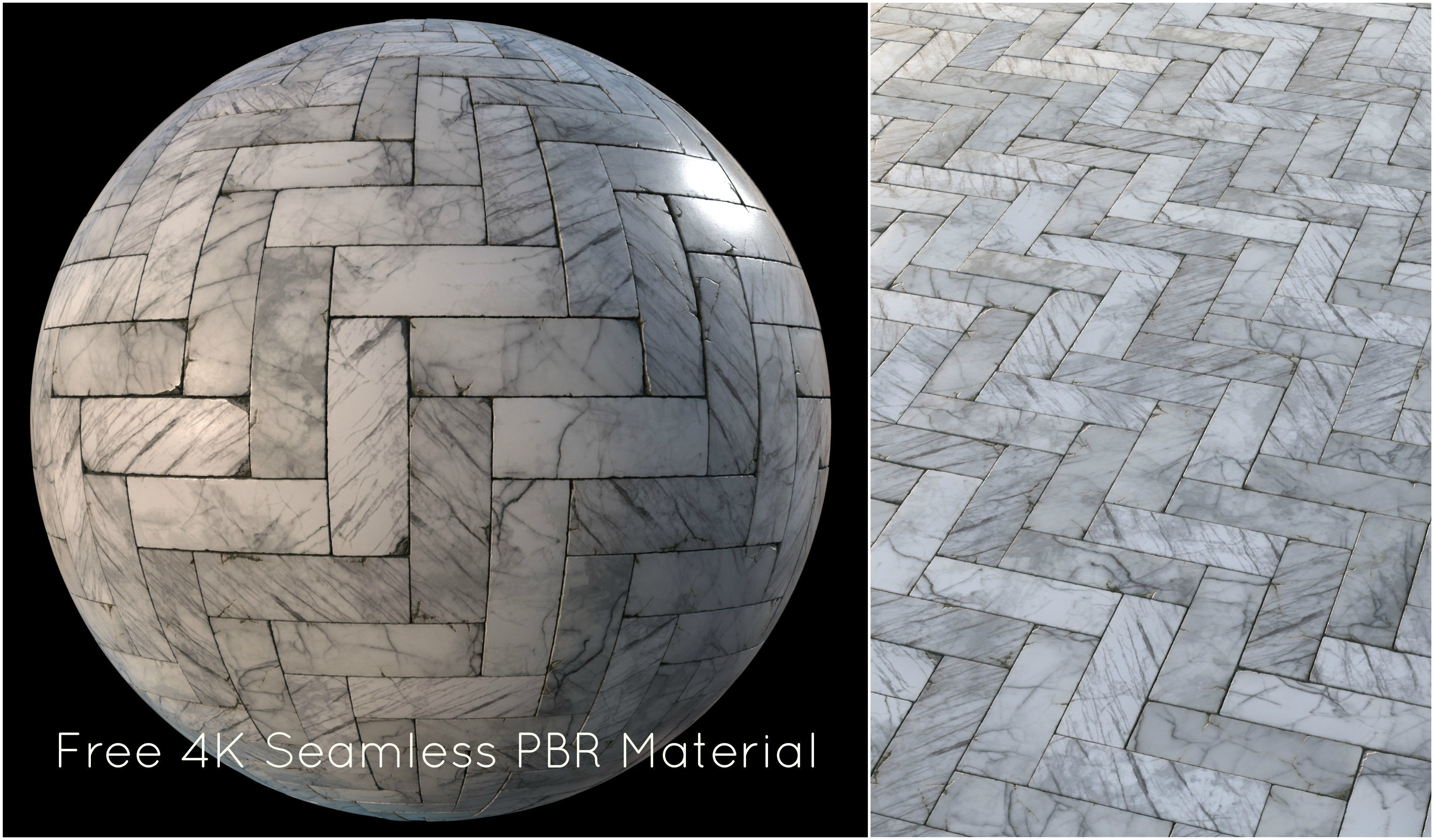 White marble tiles PBR material