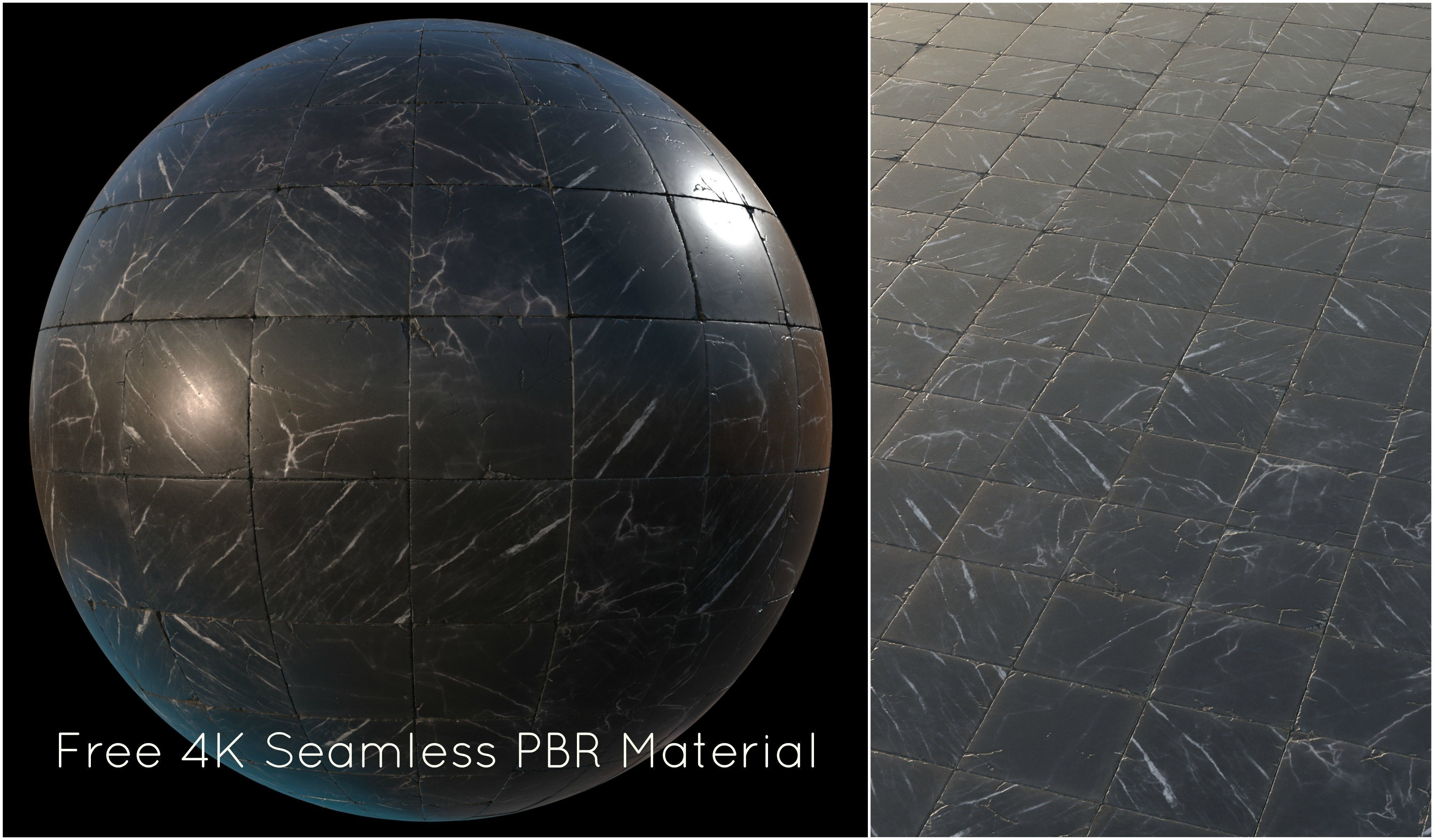 Black marble tiles PBR material