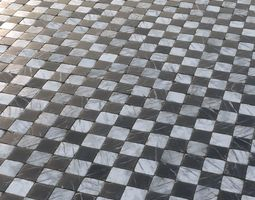 3D model Aged marble black and white chequered tiles