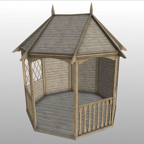 wood garden gazebo 3d model low-poly fbx dae 1