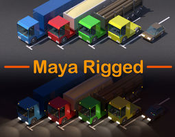 rigged Truck Car Low Poly Pack Rigged 3D model