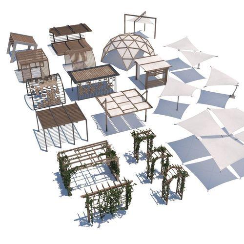 pergola shade sails 3d model low-poly max obj mtl fbx 1