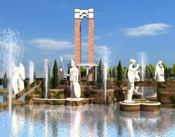 Fountain with Monument and Sculptures 3D model
